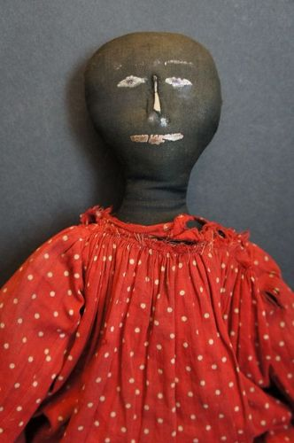 """Painted face black doll in red polka dot dress C. 1880  19"""""""