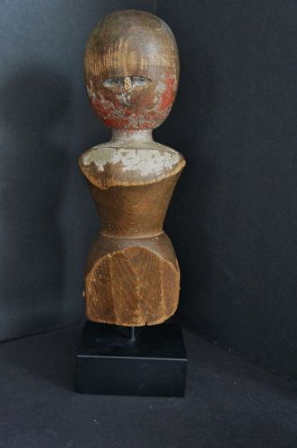 """10"""" wooden doll with remails of original paint  C. 1800-1820"""