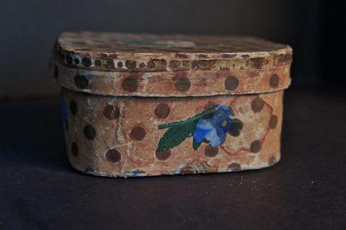 """1850 brown polka dot miniature wallpaper box 4 1/2"""" by 3 1/2"""" 2 1/4"""" h"""