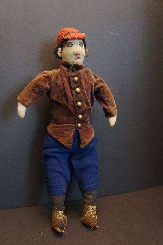 """This little guy is a muscled up 17"""" tall great face and clothes 1890"""