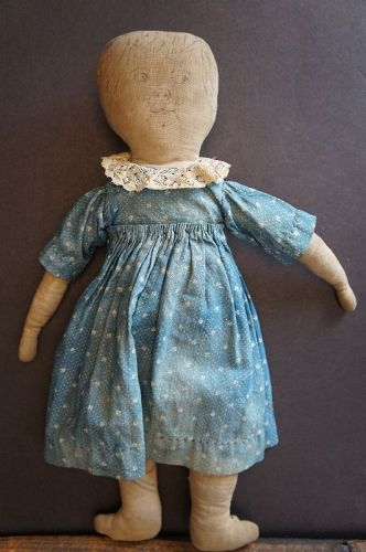 A little feed sack cloth doll, plain and simple and adorable 15""