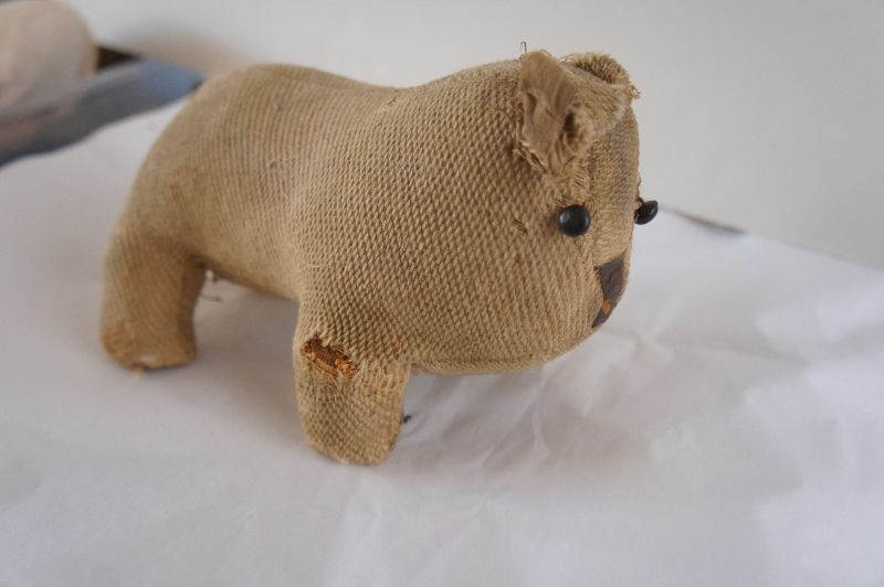 Great old handmade cloth dog with leather nose shoe button eyes