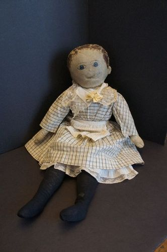 "23""  painted face doll with big blue eyes 1880"