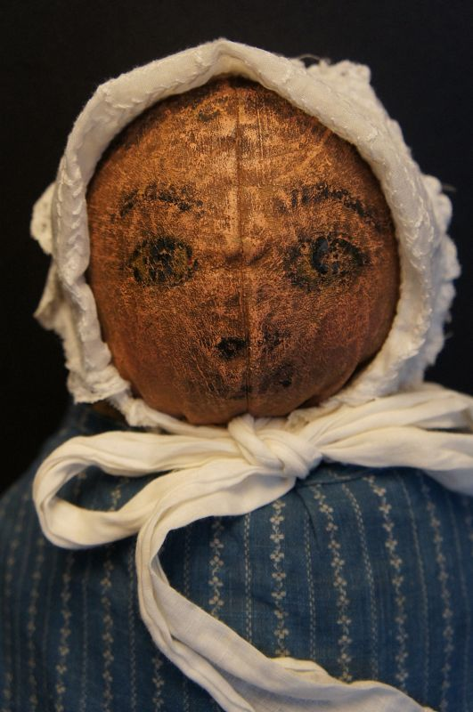 Funny pumpkin head, painted face doll a real homemade one 1880