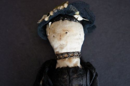 Rare 1830 corn cob stump doll with sepia ink face 5""