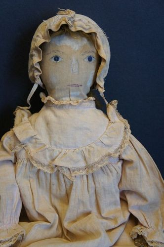 "19"" painted face doll real hair, leather hands nice clothes 1880-90"