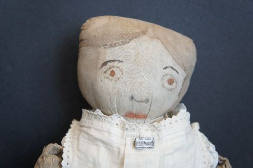 "19"" antique painted linen face cloth doll"