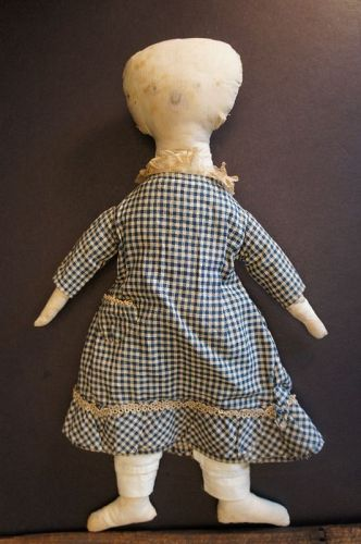 Perky little antique cloth doll with blue check dress with pocket 18""