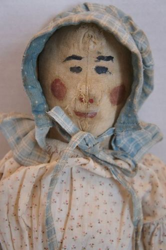 """24"""" folky painted face cloth doll rosy red cheeks Circa 1880"""