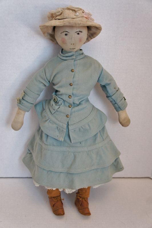 """A llovely antique cloth doll lady 21"""" with embroidered face C1880"""