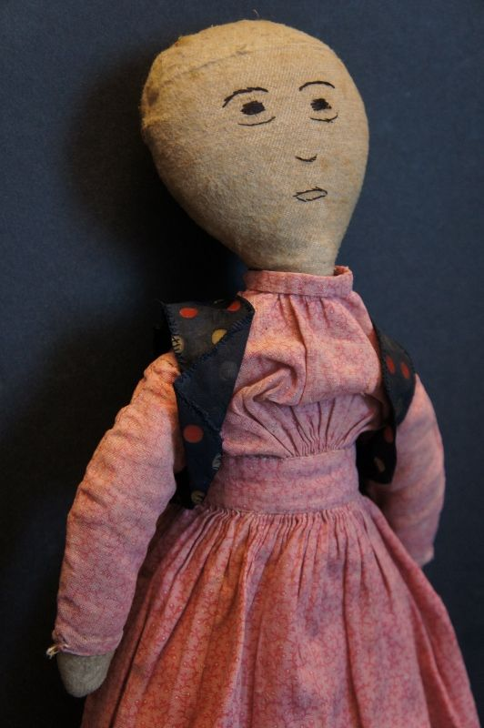 """Simple flannel rag doll with nicely embroidered face.16"""" tall C. 1890"""