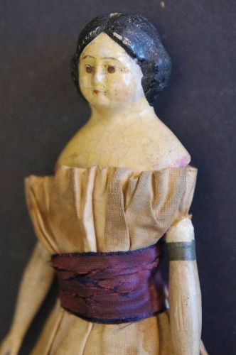 "A 6 1/2"" milliner's model doll with origina clothes C.1860"