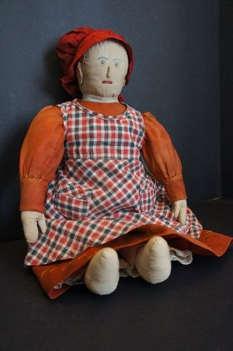 "Just too much embroidered face doll 19"" cirica 1880"