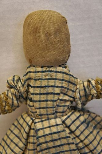 Little old all hand sewn cloth doll with pencil face 11""