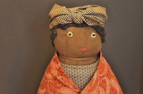"23"" tall black doll door stop, heavy and all original"