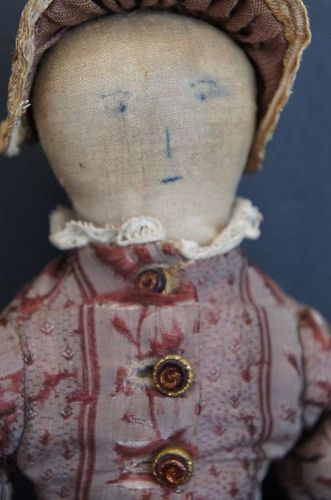 "All hand sewn ink drawn face cloth doll 12"" tall C. 1870-80"