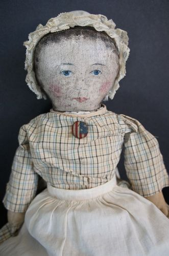 "15"" pettite painted face cloth doll blue eyes and pink cheeks C.1880"
