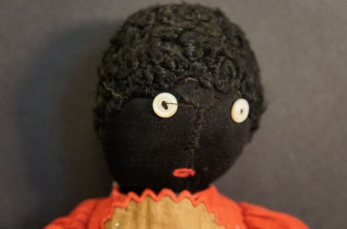 "16"" stockinette black doll, button eyes great clothes"