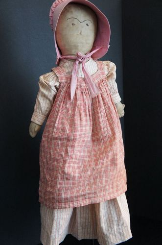 "24"" hand sewn embroidered face doll  rag stuffed body 1880"