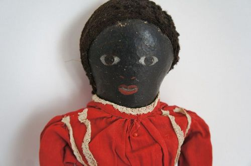 """17"""" naive painted black cloth doll lovely face C. 1880"""