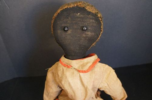 """Early  antique black cloth doll with fine stockinette face 21"""" C. 1880"""