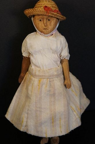 "Adorable poppet type wooden doll 10"" tall c. 1910"