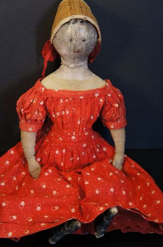 """Petite painted face cloth doll with a very early look 16"""""""