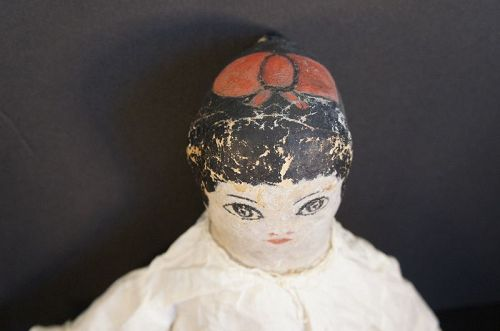 """26"""" painted face doll with a fabulous red bow on the top of her head"""