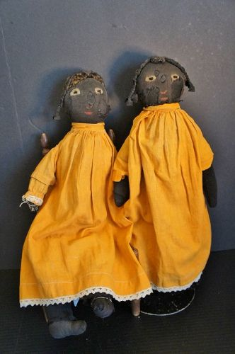 """A pair of stockinette  black doll sisters 17"""" &18"""""""