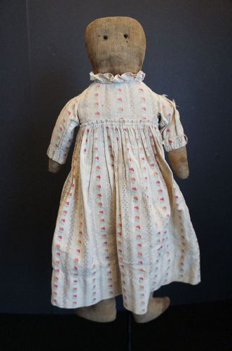 """Plain and simple rag doll in a forever dress 21"""" C.1890"""
