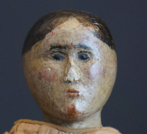 """Early 1800s painted face wooden doll with two period dresses10"""""""
