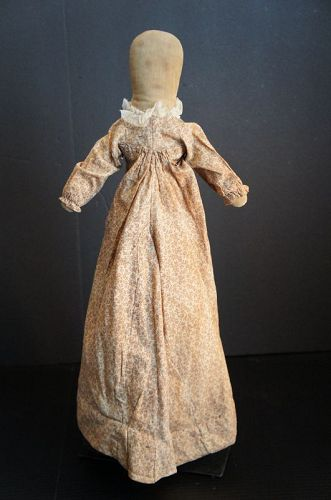 "Long tall Sally wearing a brown calico dress 22"" Circa 1890"
