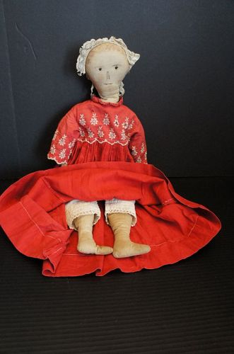 """21"""" cloth doll with ink drawn features and rag stuffed body 1880"""