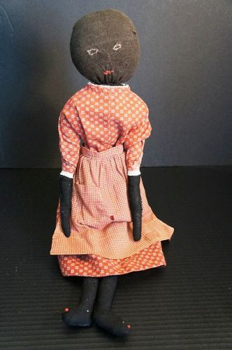 """19"""" stockinette doll embroidered face and great dress and apron"""