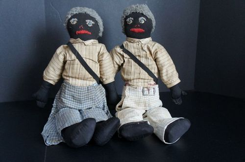 Brothers Daryl and Daryl, a pair of black cloth dolls