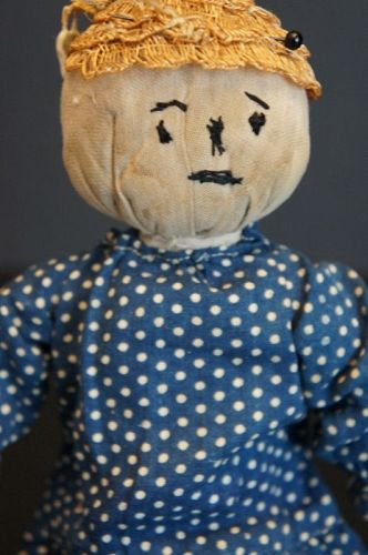 """Antique rolled cloth doll with polka dot dress 11"""" C. 1890"""