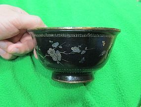 Beautiful Chinese Lacquer Lac Burgaute Bowl