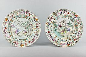 A Pair of Very Fine Famille Rose Plates 18th/19th Cent