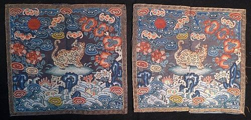 A Pair of Chinese Imperial Silk Summer Gauze Military Rank Badge