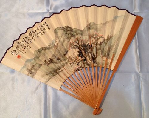 Vintage or Antique Chinese Painted Fan to Wang Bo Yuan