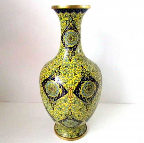 Antique Chinese Yellow Ground Cloisonne Vase