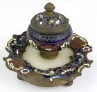 Unusual Antique Chinese Cloisonne Inkwell