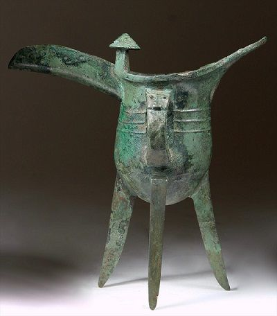Antique Early Chinese Bronze Ritual Wine Vessel