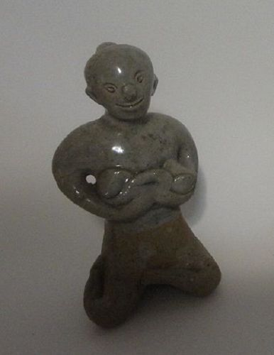 Antique Thai Celadon Glazed Porcelain Figure