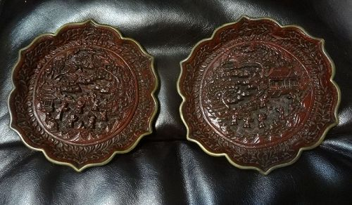 A Pair of Antique Chinese Lacquer Plates