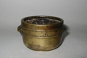 Chinese Kangxi Bronze Censer with Lingzhi Seal