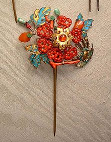 Good Chinese Kingfisher Hairpin