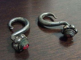 Pair of Chinese Ming Dynasty Silver Earrings with Inlay