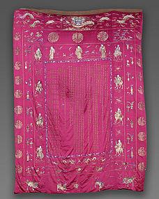 Massive Chinese Jiaqing Silk Birthday Hanging