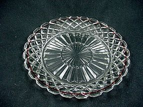 Waterford Waffle Salad Plate - Crystal with Red Trim